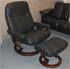 Stressless Ambassador Large Recliner and Ottoman - Batick Black Leather by Ekornes