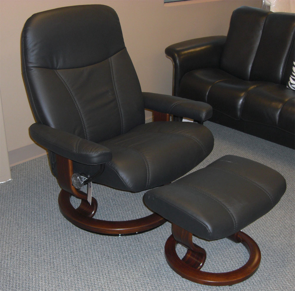 Leather by ekornes stressless batick black leather chairs recliners