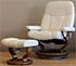 Stressless Ambassador Large Recliner Chair and Ottoman - Batick Cream Leather by Ekornes