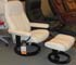 tressless Consul Medium Recliner and Ottoman - Batick Cream Leather by Ekornes
