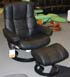 Stressless Kensington Large Paloma Black Leather Recliner Chair and Ottoman