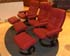 Stressless Oxford Large Recliner and Ottoman in Batick Burgundy Leather by Ekornes
