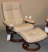 Stressless Oxford Large Recliner and Ottoman in Paloma Sand Leather by Ekornes