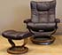 Stressless Wing Paloma Sand Leather Recliner Chair and Ottoman