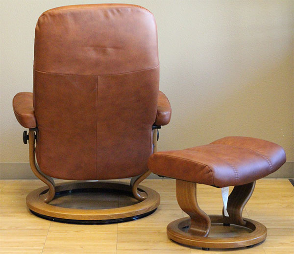 Stressless Consul Medium Batick Caramel Leather Recliner by Ekornes