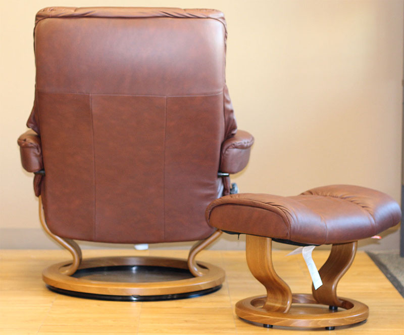 Back of the Stressless Kensington Paloma Cognac Leather Recliner Chair
