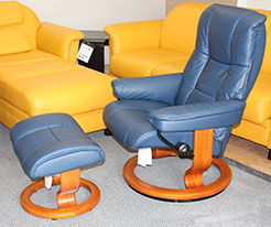 Stressless Kensington Oxford Blue Leather Recliner Chair and Ottoman & Stressless Cherry Wood Base Clearance Sale - Stressless Recliners ... islam-shia.org