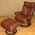 Stressless Magic Royalin Brown Leather Recliner Chair and Ottoman