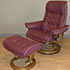 Stressless Royal Paloma WineRed Leather Recliner Chair and Ottoman