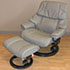 Stressless Vegas Royalin Mole Leather Recliner Chair and Ottoman