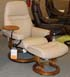 Stressless Sunrise Small Recliner and Ottoman in Paloma Sand Leather by Ekornes