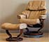 Stressless Tampa Paloma Taupe Leather Recliner Chair and Ottoman