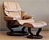 Stressless Vegas Paloma Taupe Leather Recliner Chair and Ottoman