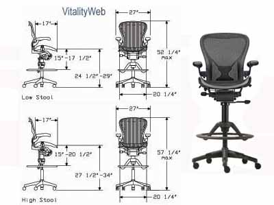 Herman Miller Aeron Stool Home Office Chair - Ergonomic Seating ...