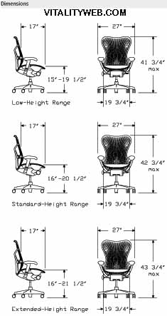 Herman Miller Mirra Home Office Chair Dimensions