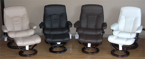 Stressless Governor Recliner and Ottoman in Brandy Red, Sand, Black, Chocolate, Light Grey  Paloma Leather
