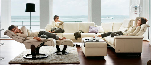 Elegant Stressless Paradise Sectional In Paloma Kitt Leather Sofa By Ekornes
