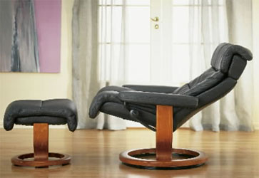Stressless Memphis Recliner Chair And Ottoman Paloma Black Leather With  Cherry Wood Base