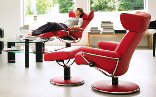Stressless Jazz Red Leather Recliner Chair by Ekornes : red leather recliner - islam-shia.org