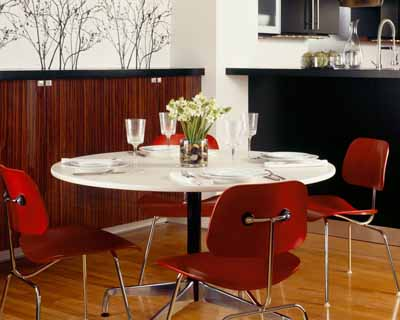herman miller eames molded plywood dining chair with metal base and