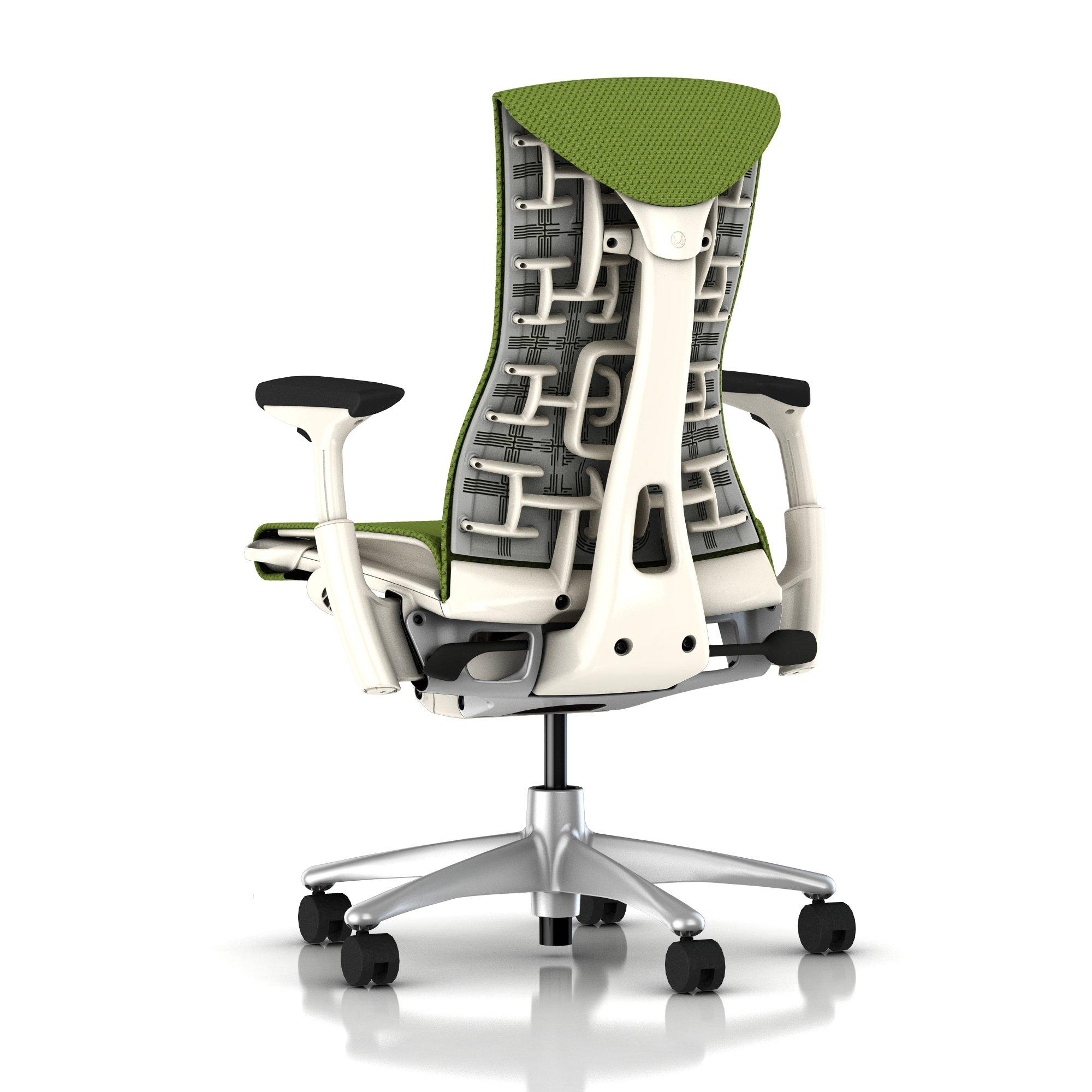 Herman Miller Em Chair Green Apple Balance With White Frame And Titanium Base
