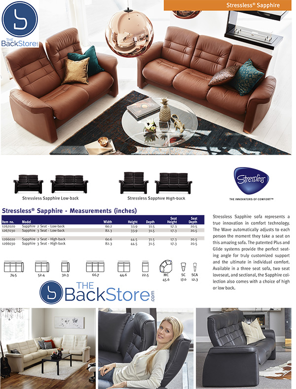 Stressless Sapphire Sofa and Loveseat Measurements by Ekornes