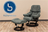 Stressless Tampa Small Reno Recliner and Ottoman - Paloma Aqua Green Leather by Ekornes