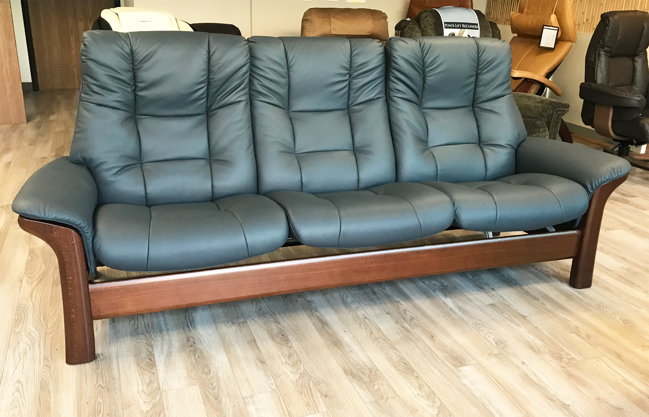 Stressless Buckingham 3 Seat High Back Sofa Paloma Shadow Blue Leather by  Ekornes