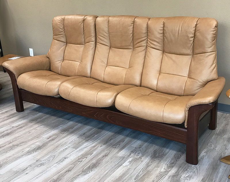 Stressless Buckingham 3 Seat High Back Sofa Paloma Taupe Color Leather  Recliner Sofa