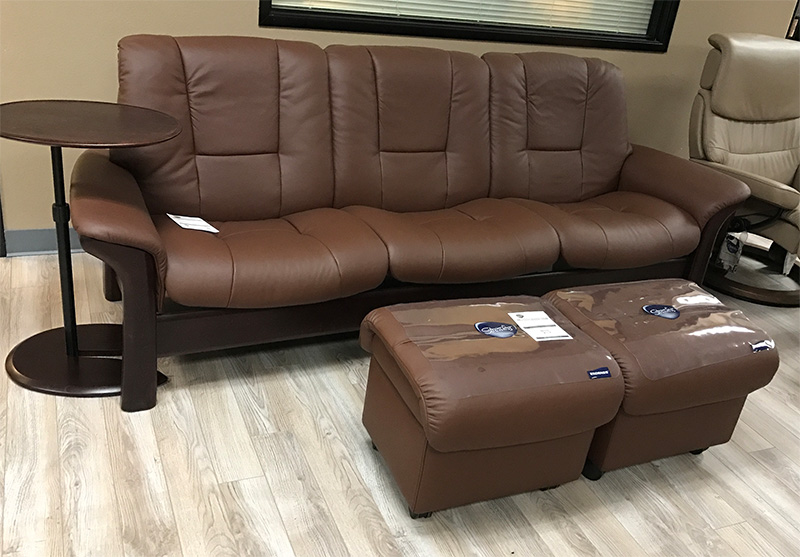 Stressless Buckingham 3 Seat Low Back Sofa Paloma Brown