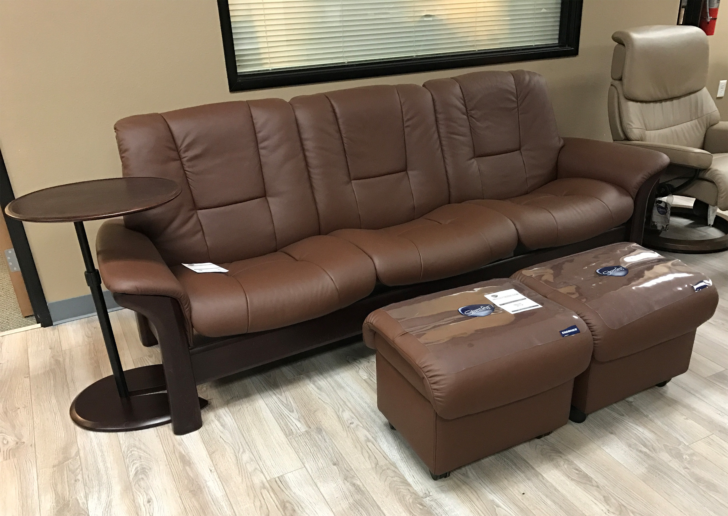 Stressless Buckingham 3 Seat Low Back Sofa Paloma Chocolate Leather & Stressless Buckingham 3 Seat Low Back Sofa Paloma Chocolate Leather ...