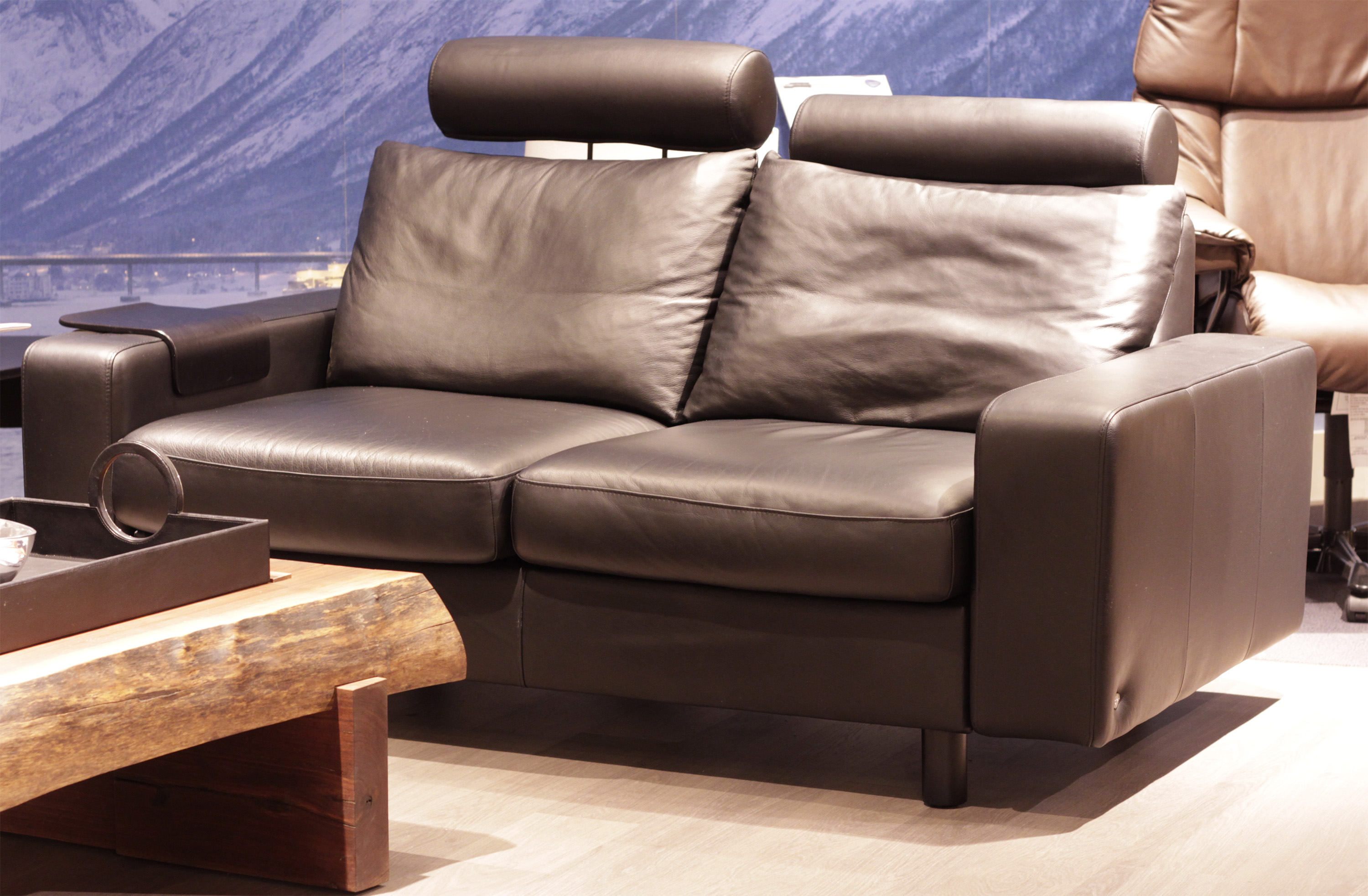 Stressless E200 Loveseat Sofa In Paloma Rock Leather By