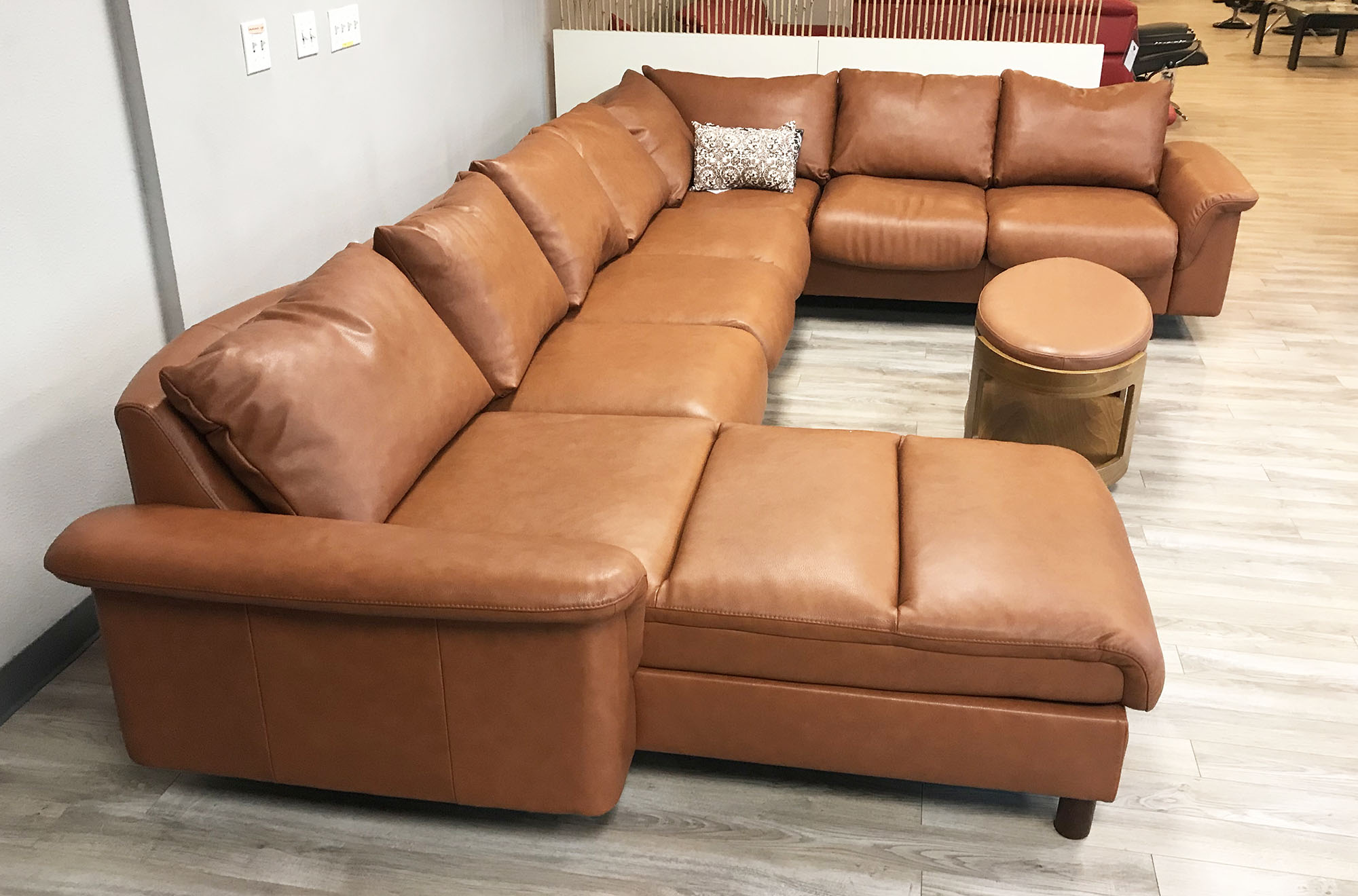 Stressless E300 7 Seat Sectional Sofa With LongSeat In Royalin TigerEye  Leather