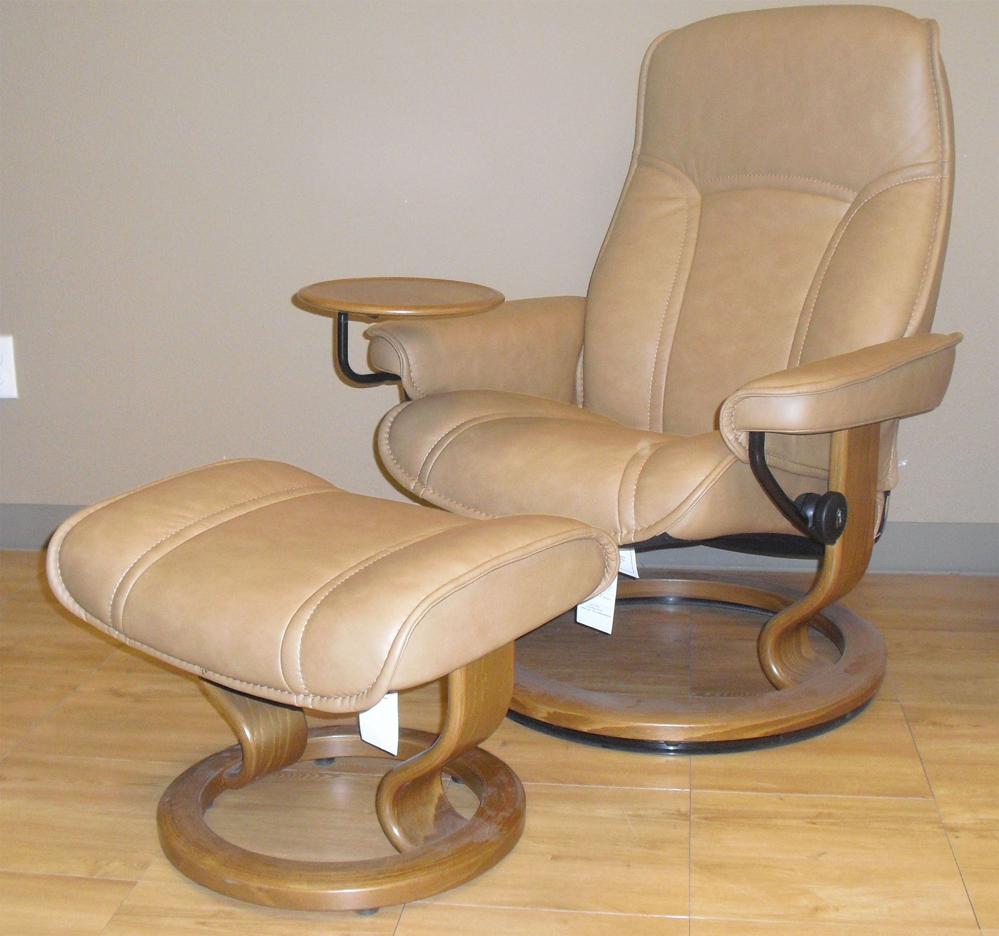 Stressless Governor Paloma Taupe Leather Recliner Chair ...