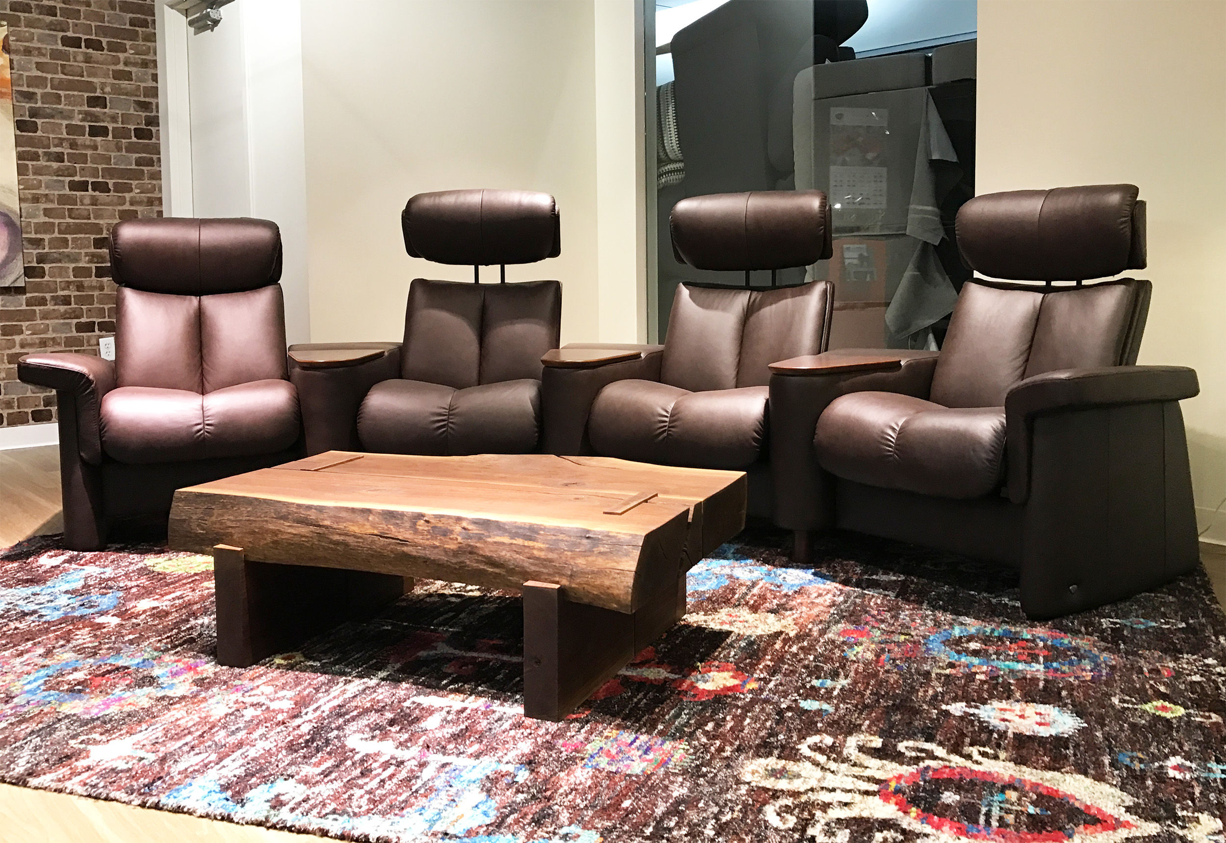 Stressless Legend Home Theater Sofa Sectional In Paloma Chocolate Leather