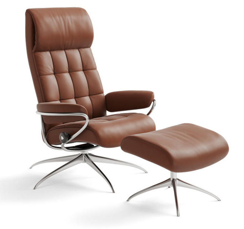 Stressless London High Back Recliner Chair And Ottoman In Paloma Copper  Leather