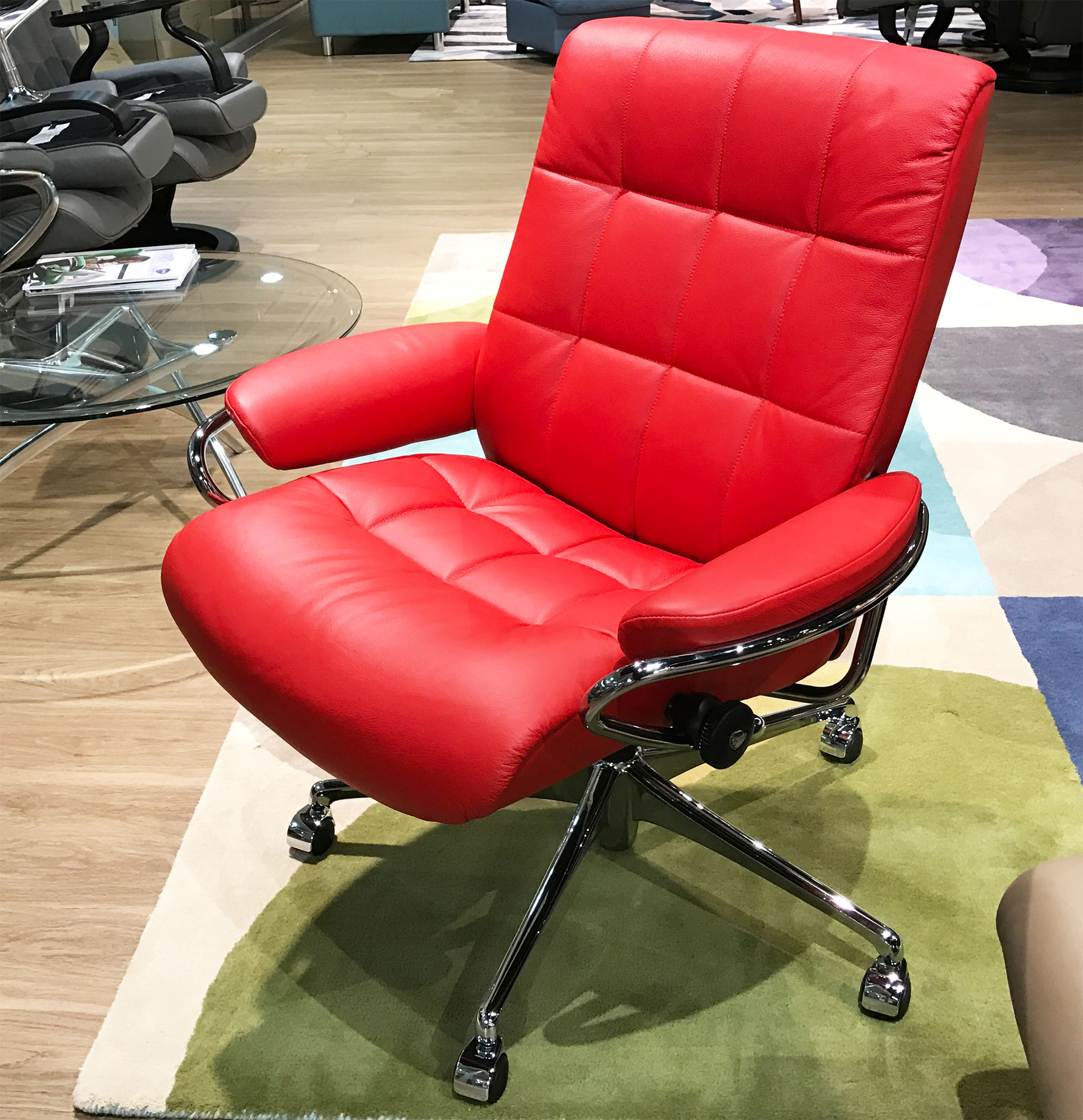 Terrific Stressless London Low Back Recliner Chair In Sparrow Blue Leather By Ekornes Creativecarmelina Interior Chair Design Creativecarmelinacom