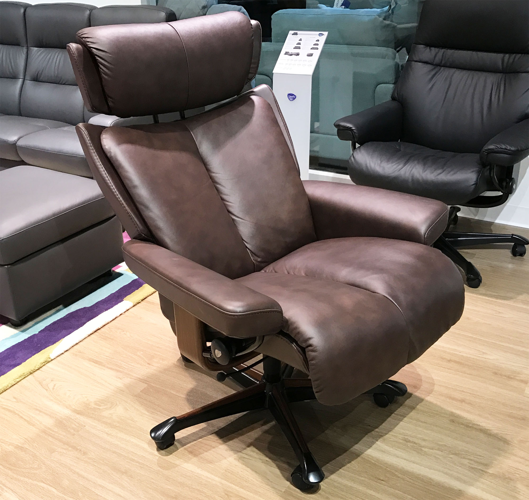 Stressless Magic Paloma Chocolate Leather Office Desk Chair by Ekornes