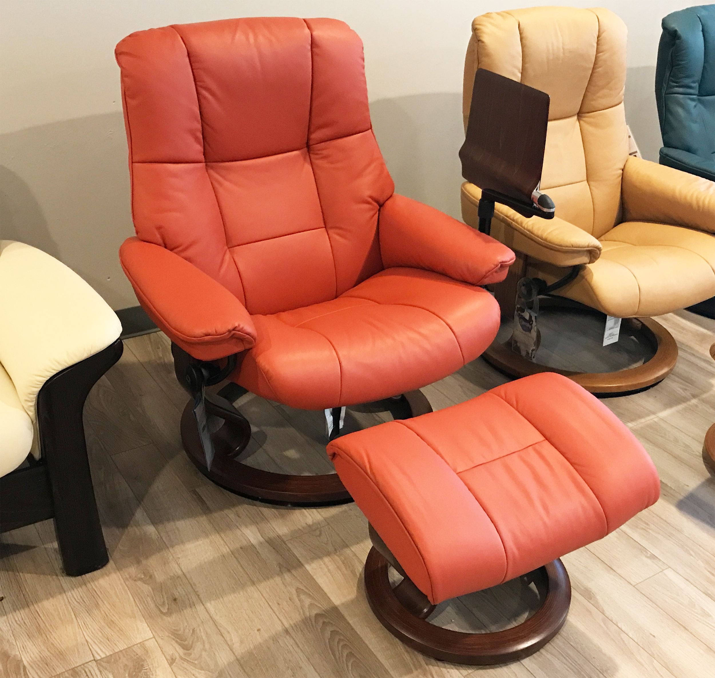 Stressless Mayfair Paloma Henna Leather Recliner Chair And Ottoman By  Ekornes   Stressless Mayfair Paloma Henna Leather Chairs Recliners
