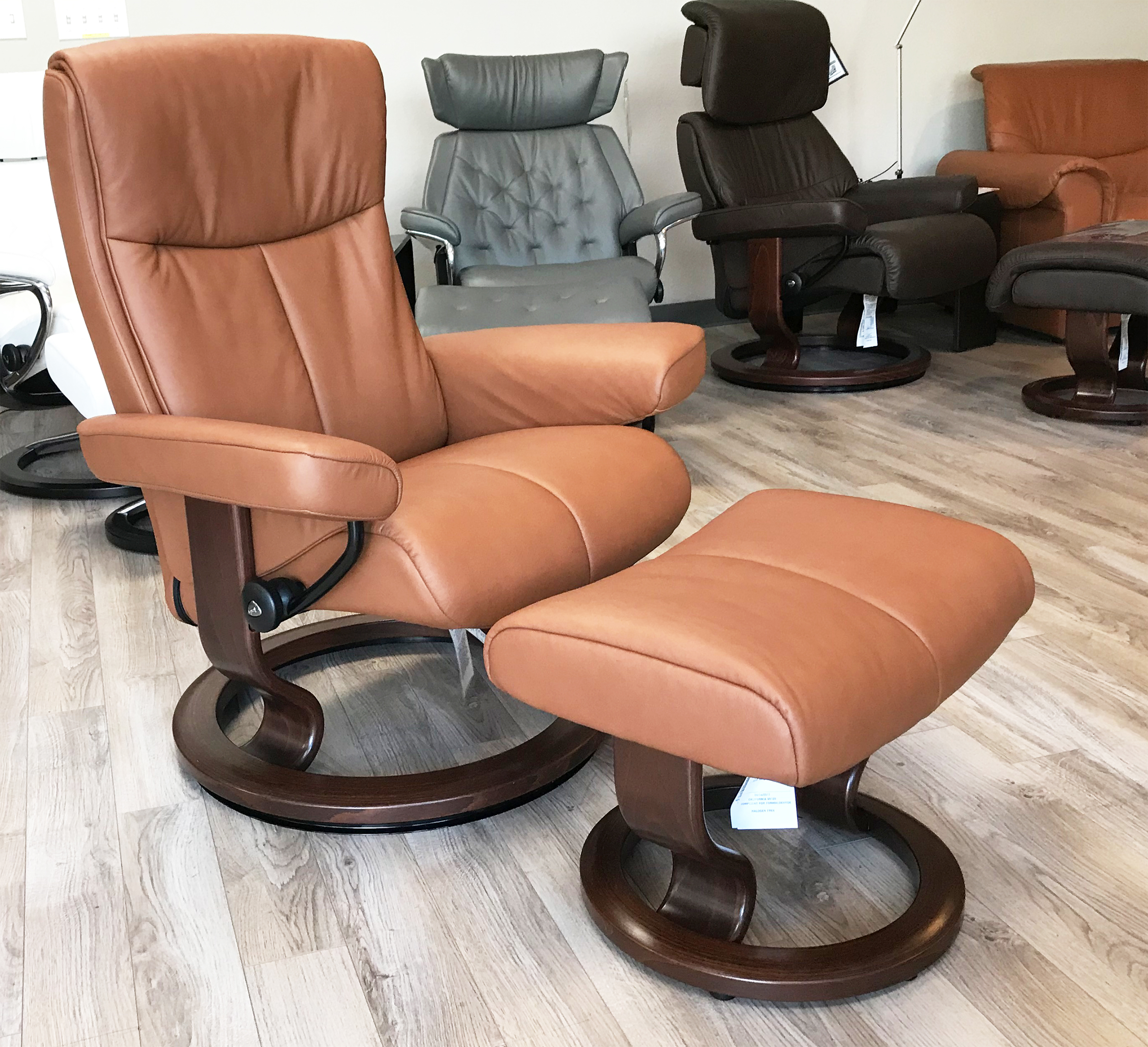 Stressless Peace Paloma Copper Leather Recliner And Ottoman