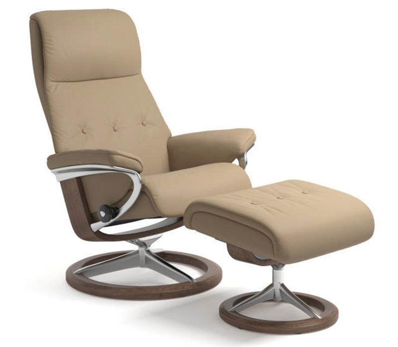 Stressless Sky Signature Paloma Funghi Leather Recliner Chair And Ottoman By Ekornes