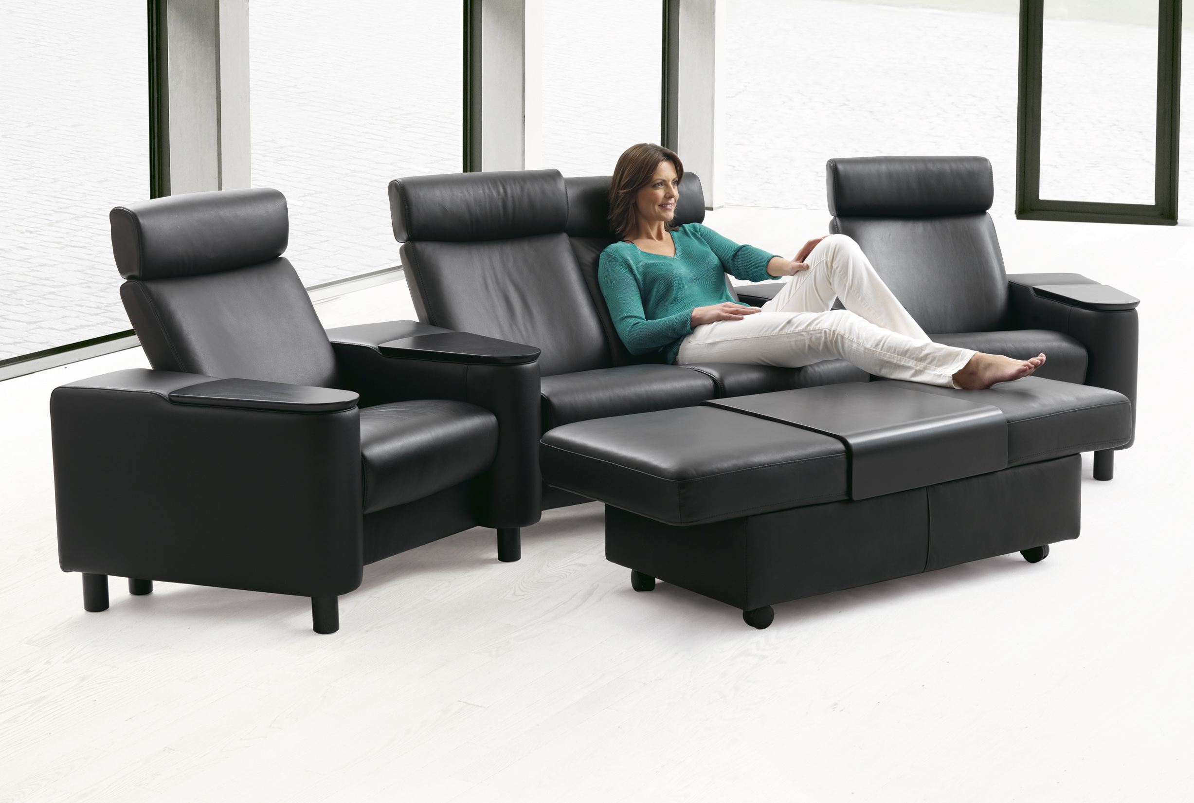 Stressless Space Home Theater Sofa Sectional in Paloma Black Leather by  Ekornes