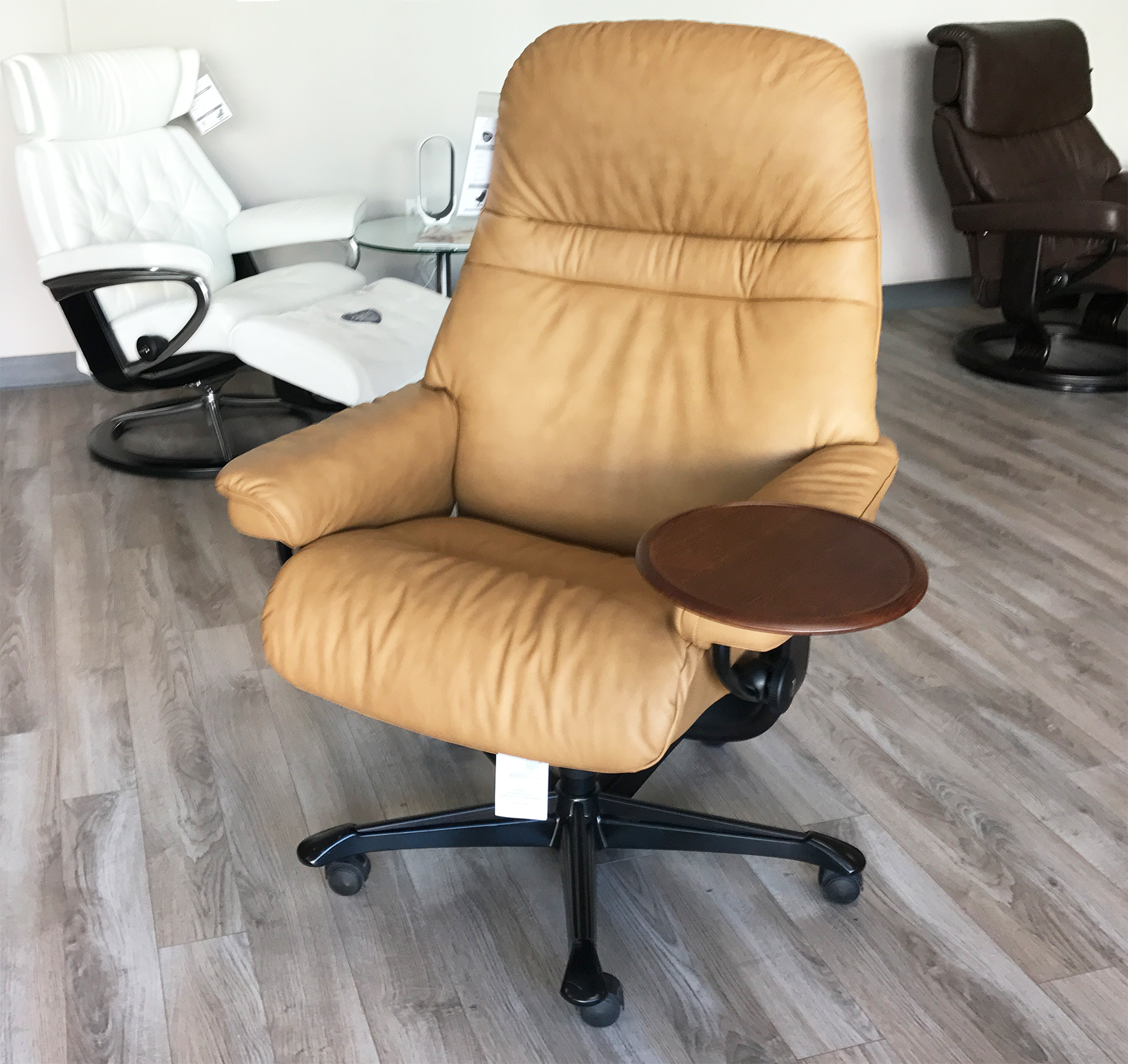 stressless sunrise office desk chair paloma taupe leather by ekornes