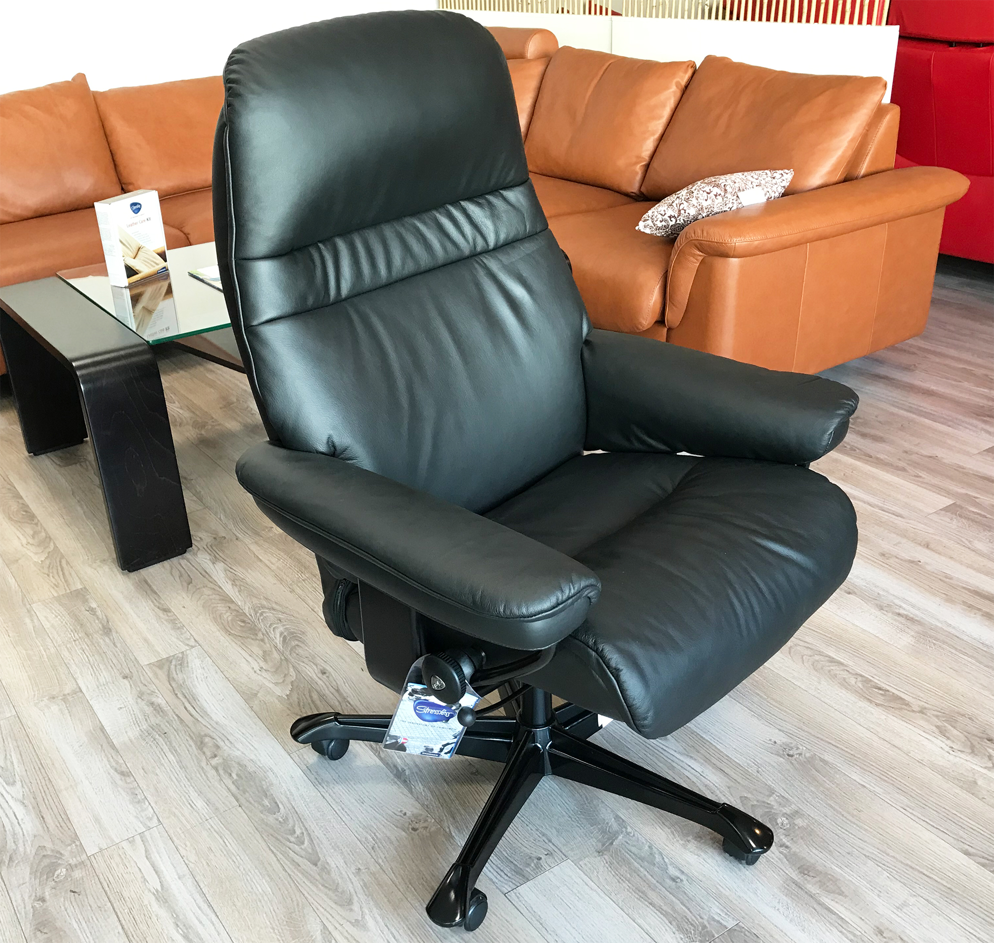stressless sunrise office desk chair paloma black leather by ekornes