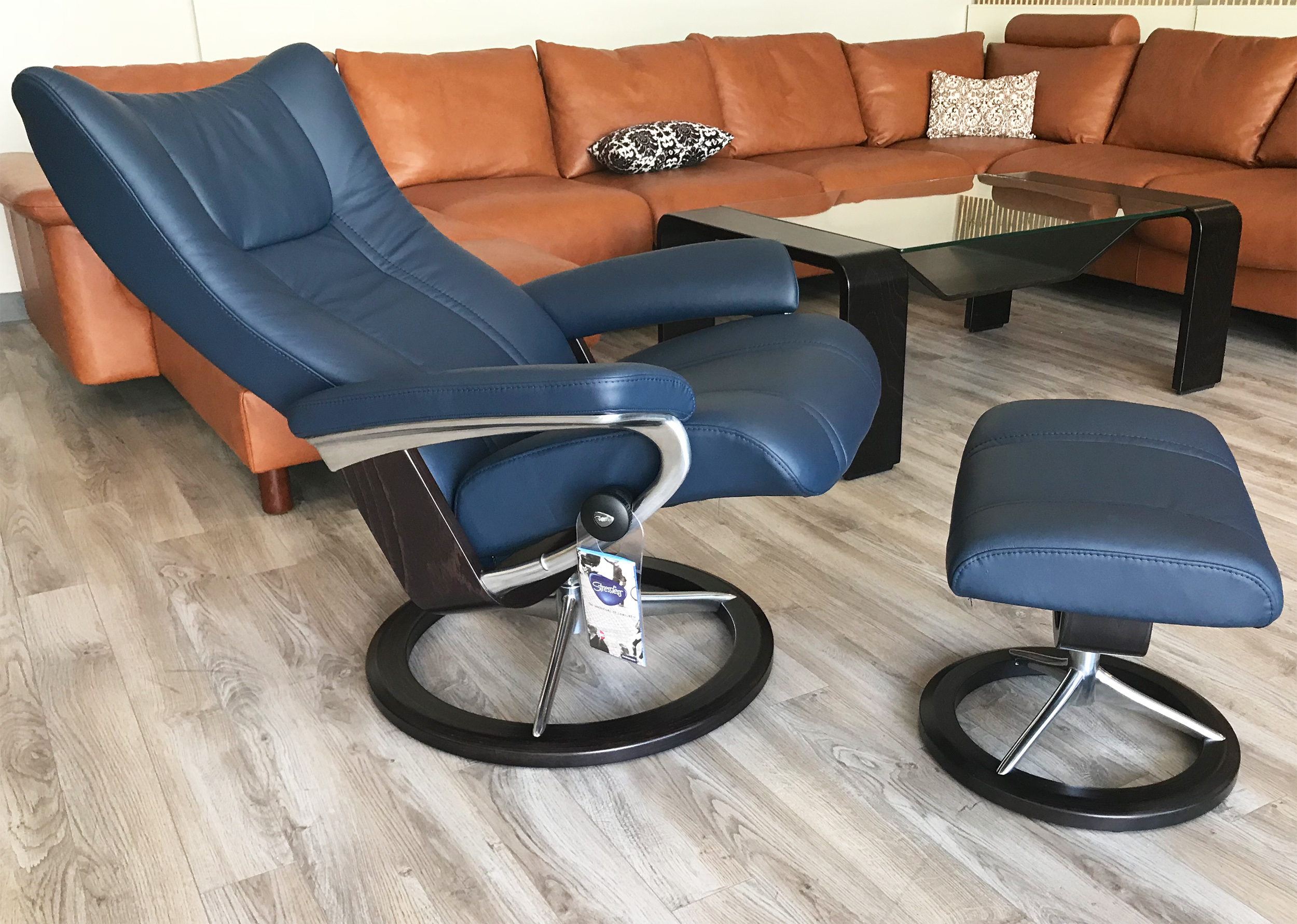 Stressless Wing Signature Base Paloma Oxford Blue Leather Recliner Chair And Ottoman By Ekornes Stressless Wing Signature Base Paloma Oxford Blue Leather Chairs Recliners