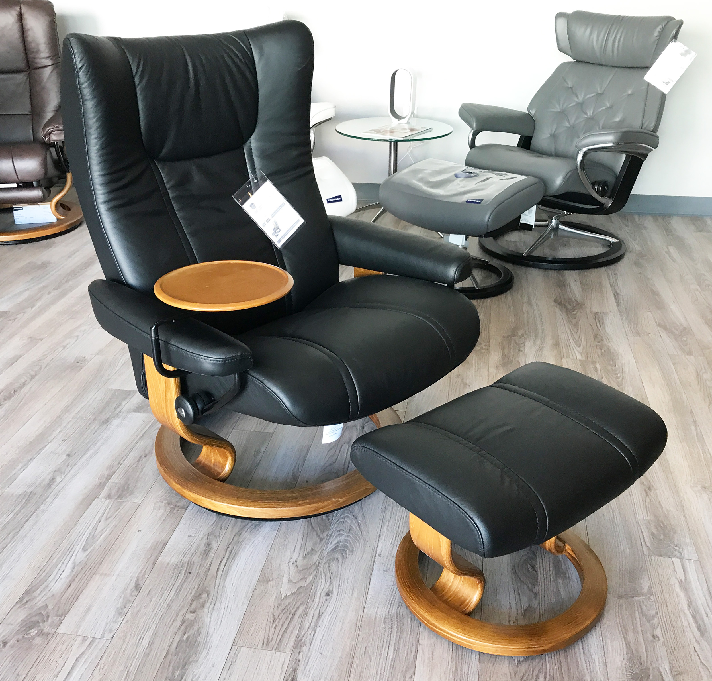 Stressless Wing Paloma Black Leather Recliner Chair And