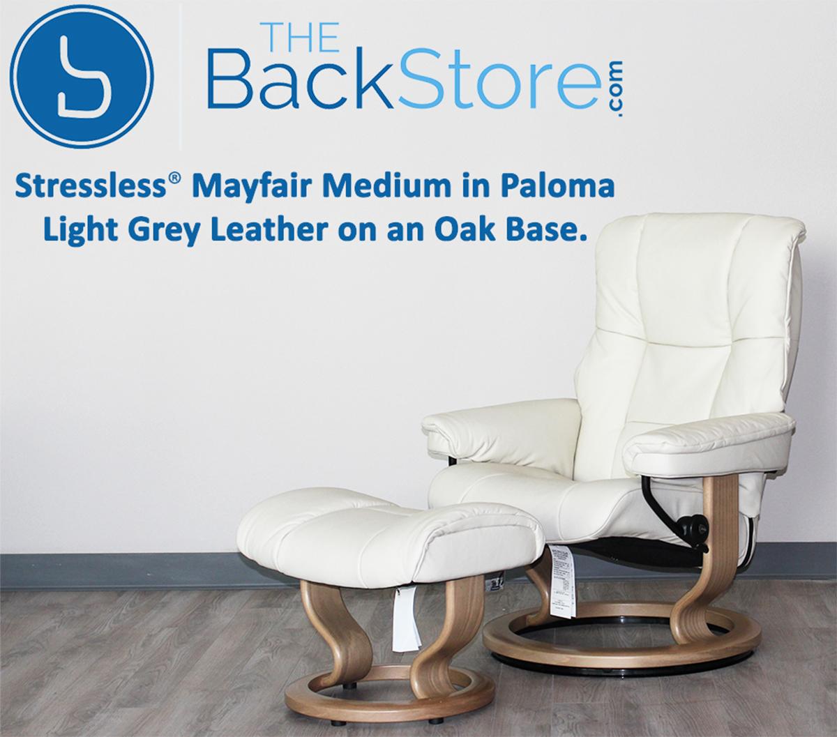 Phenomenal Stressless Mayfair Paloma Light Grey Leather Recliner Chair And Ottoman By Ekornes Inzonedesignstudio Interior Chair Design Inzonedesignstudiocom