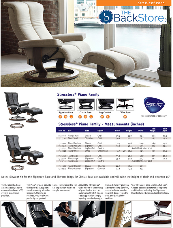 Stressless Piano Leather Recliner Chair and Ottoman by Ekornes