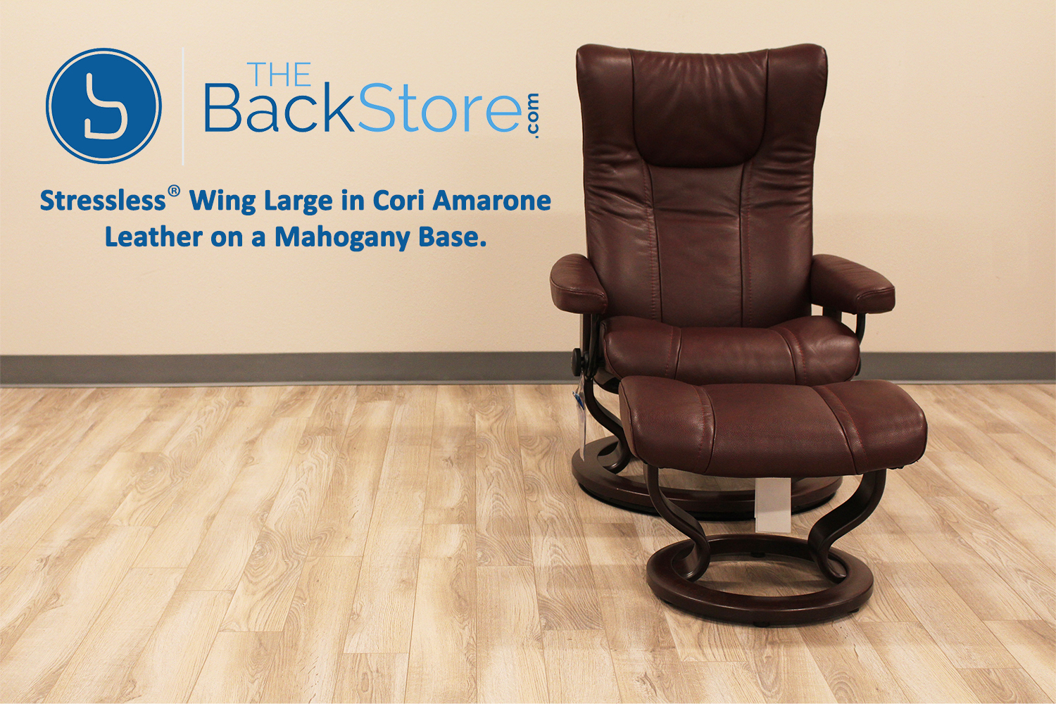 stressless wing medium cori amarone leather recliner chair and