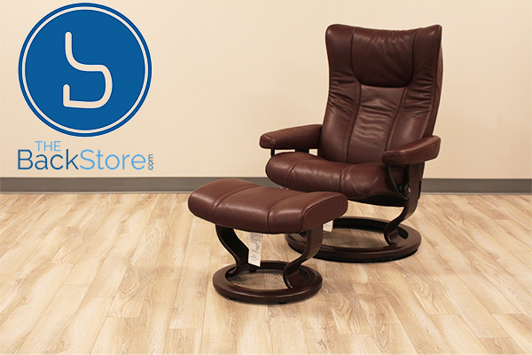 Stressless Wing Classic Wood Base Recliner Chair and Ottoman in Cori Amarone